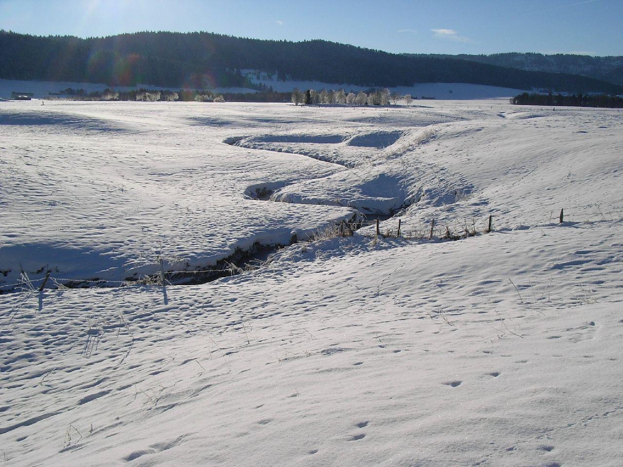 Ruisseau coupant à travers champ en hiver
